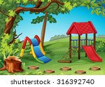 playground in the park... | Shutterstock .eps vector #316392740