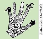 halloween magic hand. black and ... | Shutterstock .eps vector #316394453