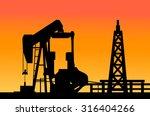 oil rig   sunset  | Shutterstock .eps vector #316404266