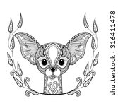 zentangle desert fox head totem ... | Shutterstock .eps vector #316411478
