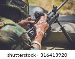 training soldiers   machine... | Shutterstock . vector #316413920