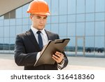 young handsome architect taking ... | Shutterstock . vector #316418360
