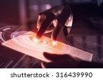 businessman pressing modern... | Shutterstock . vector #316439990