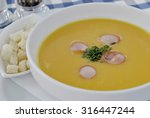 delicious pea soup with sausage ... | Shutterstock . vector #316447244