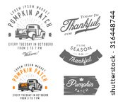 set of vintage thanksgiving day ... | Shutterstock . vector #316448744