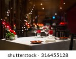 romantic dinner setup  red... | Shutterstock . vector #316455128