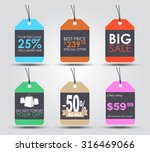 Stock vector set of sale tags labels for indicating the amount of discounts and prices retro style vector 316469066