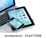 laptop  phone and tablet pc. | Shutterstock . vector #316475588