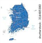 south korea map | Shutterstock .eps vector #316485380