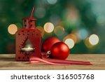 red christmas lantern and balls ... | Shutterstock . vector #316505768