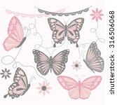 pink and grey butterfly... | Shutterstock .eps vector #316506068