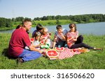 happy people have a picnic... | Shutterstock . vector #316506620