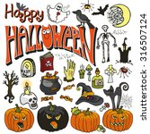 halloween party icons.doodle... | Shutterstock .eps vector #316507124