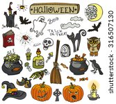 halloween party icons.doodle... | Shutterstock .eps vector #316507130