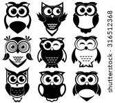 cute black and white owls set | Shutterstock .eps vector #316512368