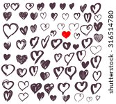 hand drawn hearts set. vector... | Shutterstock .eps vector #316514780