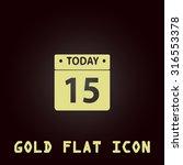 calendar. gold flat vector icon....