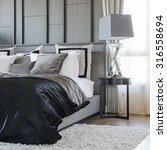 modern bedroom design in black... | Shutterstock . vector #316558694