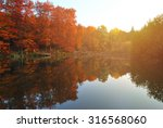 Fall Scene With Lake And Trees...