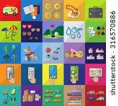 flat icons set  vector... | Shutterstock .eps vector #316570886