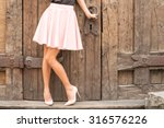 woman wearing nude colored high ... | Shutterstock . vector #316576226
