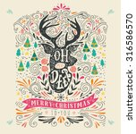 oh my deer. merry christmas.... | Shutterstock .eps vector #316586570