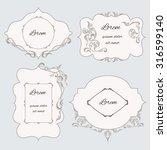 set vintage ornamental frame ... | Shutterstock . vector #316599140