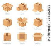 vector set. flat carton box.... | Shutterstock .eps vector #316602833