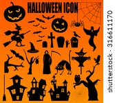 halloween icon set. holiday... | Shutterstock .eps vector #316611170