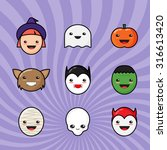 cute kawaii halloween icons set.... | Shutterstock .eps vector #316613420