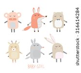 set of cute animals for girls | Shutterstock .eps vector #316614284