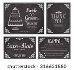 set of wedding invitation... | Shutterstock .eps vector #316621880