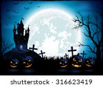 Stock vector halloween pumpkins and dark castle on blue moon background illustration 316623419