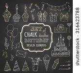 Chalk Set Of Hand Drawn...