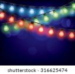 christmas garlands glowing... | Shutterstock .eps vector #316625474