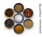Group of cooking spices on white background - stock photo