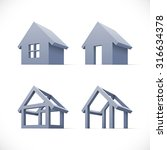 set of abstract houses icons.... | Shutterstock .eps vector #316634378