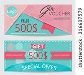 gift voucher certificate coupon ... | Shutterstock .eps vector #316637579