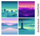 vector abstract landscapes  ... | Shutterstock .eps vector #316649240