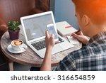 businessman using smartphone... | Shutterstock . vector #316654859