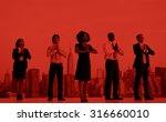 office workers outdoor yoga... | Shutterstock . vector #316660010