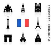 paris  france landmarks icon... | Shutterstock .eps vector #316665833
