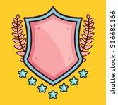 glossy cartoon shield with...