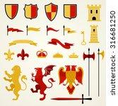 heraldic elements and emblems...   Shutterstock .eps vector #316681250