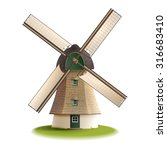 traditional old windmill... | Shutterstock .eps vector #316683410