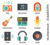 music icons set. flat design....