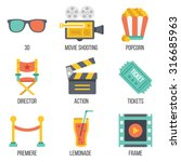 cinema icons set. flat design....