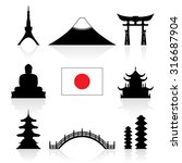 japan landmarks icon set.... | Shutterstock .eps vector #316687904