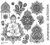 set of ornamental indian... | Shutterstock .eps vector #316701044