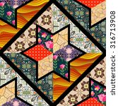 seamless patchwork pattern with ... | Shutterstock .eps vector #316713908
